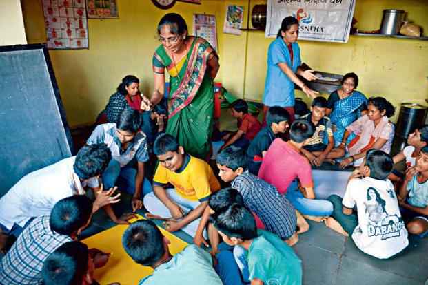 SNEHA conducts talks on gender equality with young boys in Amrut Nagar, Mumbai. Photo: Abhijit Bhatlekar/Mint